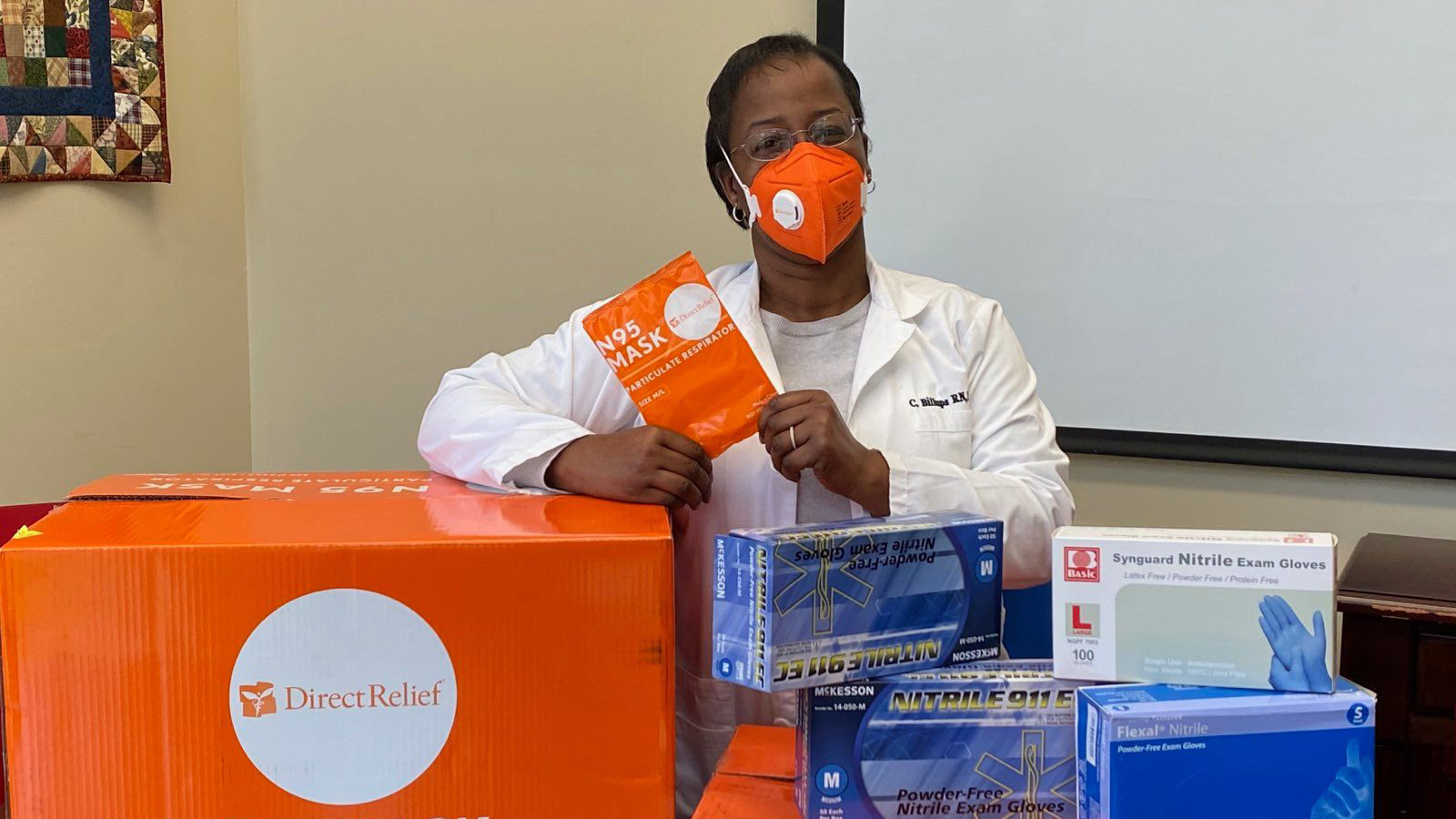 Protective gear for health workers arrives at Gloucester Matthews Care Clinic in Gloucester, Virginia in March, 2020. The shipment included N95 masks, gloves, gowns and other protective gear requested to prevent the spread of coronavirus. (Courtesy photo)