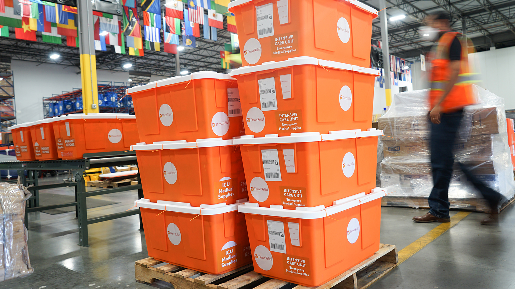 Medicines essential for ICU care of Covid-19 patients are prepped for shipment in Direct Relief's warehouse on April 24, 2020. The modules contain medicines needed to care for complications of Covid-19, including bacterial pneumonia and septic shock. (Lara Cooper/Direct Relief)