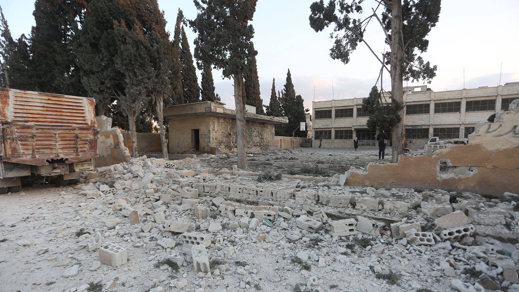 A Syrian school used as a shelter for internally displaced people was bombed on February 25, part of ongoing violence in the region. (UNICEF/Suleiman)