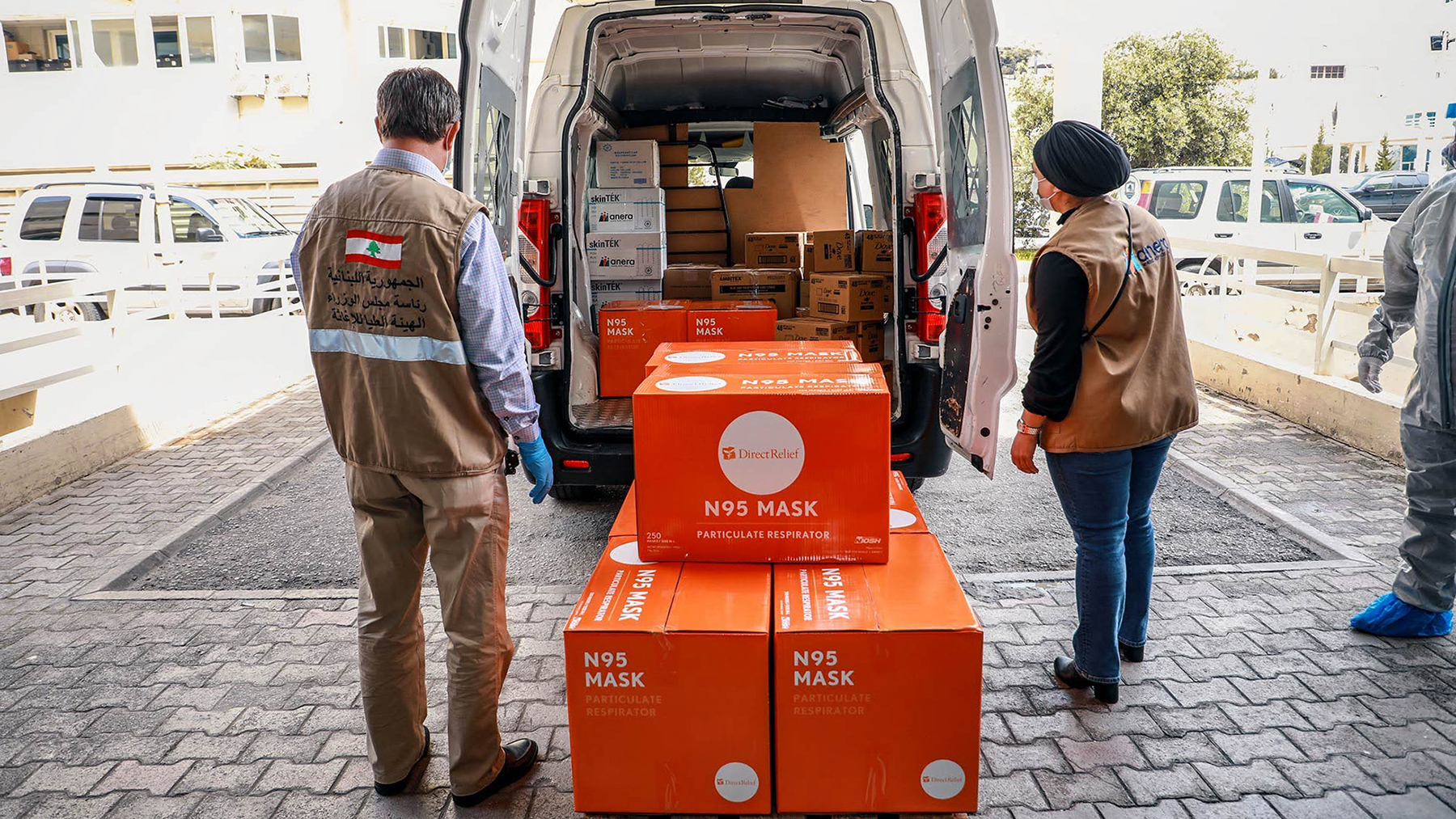 Protective gear from Direct Relief arrives at Rafik Hariri University Hospital in Lebanon in April 2020. Nonprofit organization Anera distributed the shipment, which included oxygen concentrators, N95 respirator masks, gloves, shoe covers, surgical caps, soap bars, and face shields. (Anera photo)