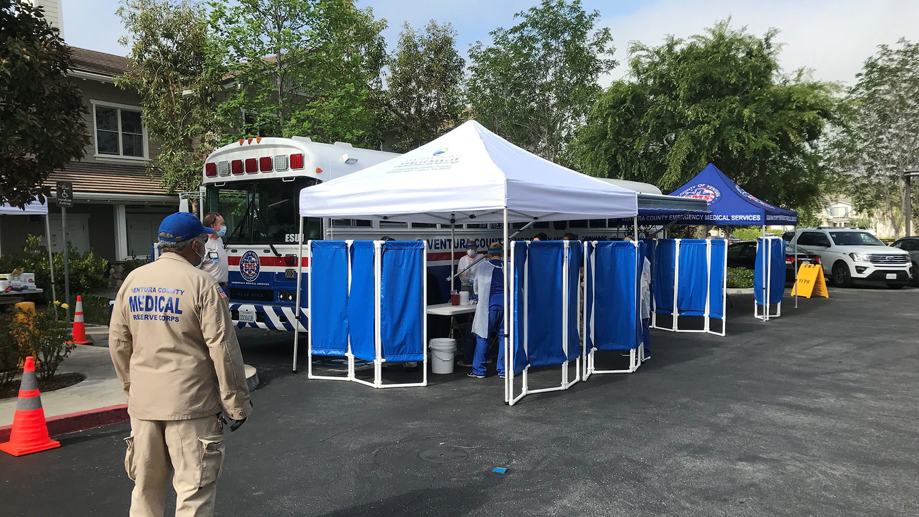 Members of the Ventura County Medical Reserve Corps work at a tent station during the Covid-19 pandemic. (Photo courtesy of the Ventura County Emergency Medical Services Agency)