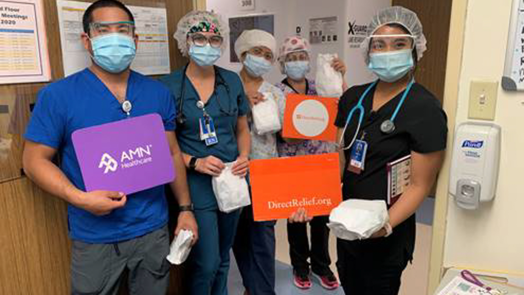Health care providers at Scripps Health with their donated PPE. (Photo Courtesy of Scripps Health)