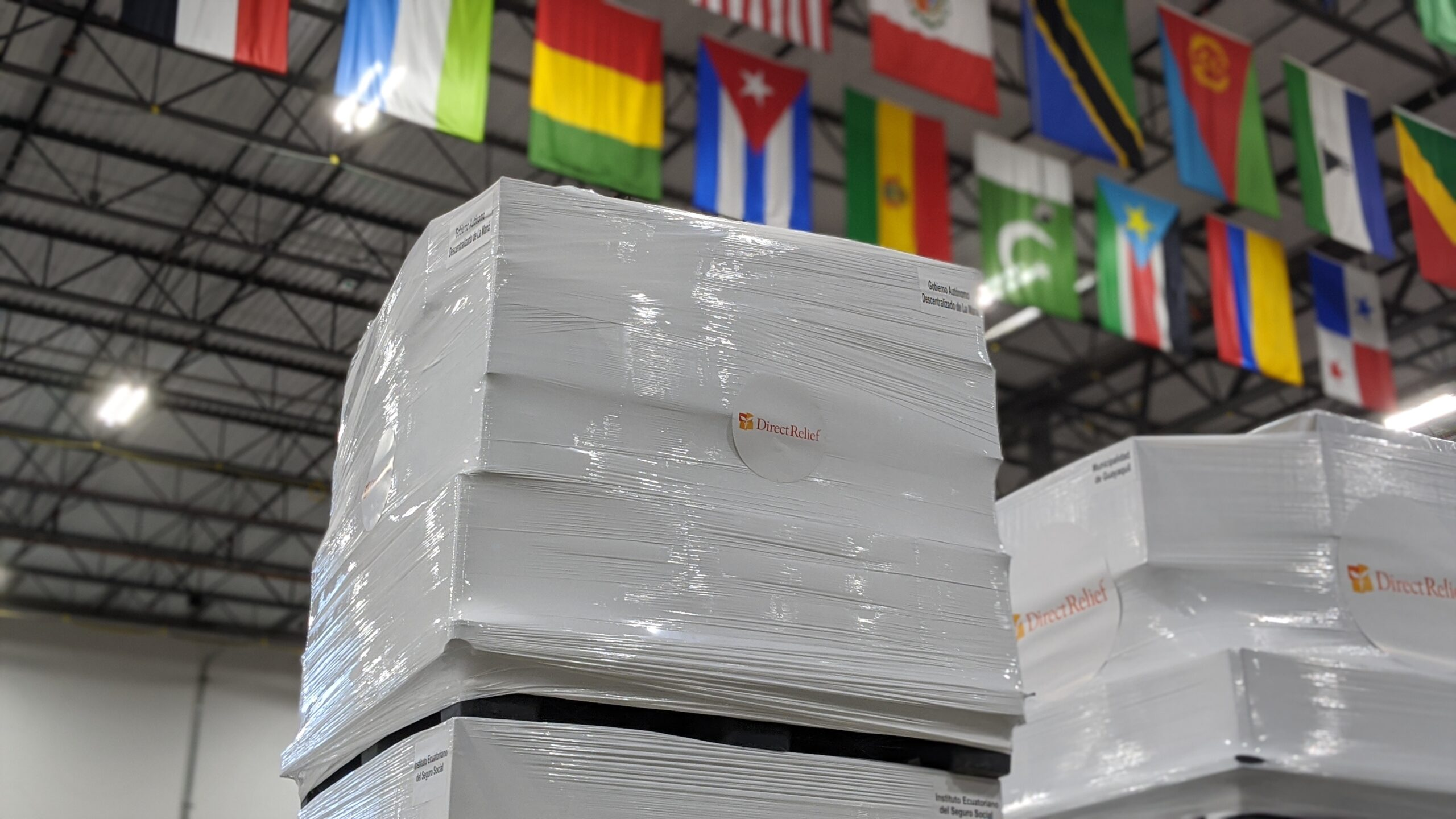 Medical supplies are staged in Direct Relief's California warehouse for delivery to Ecuador in response to the Covid-19 pandemic. (Photo: Tony Morain/Direct Relief)
