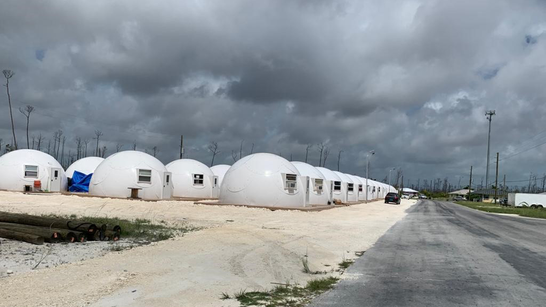 Temporary housing domes on Great Abaco. (Photo courtesy of Dr. Jim Hull)