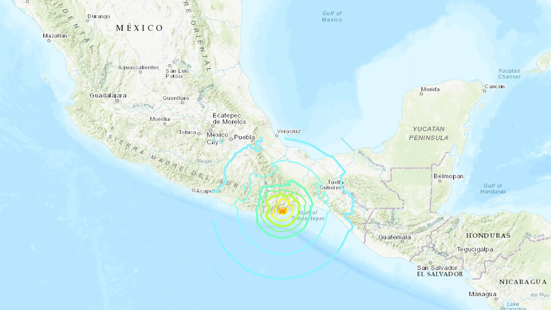 A 7.4-magnitude earthquake rattled southern Mexico on Tuesday morning. (Image courtesy of USGS)
