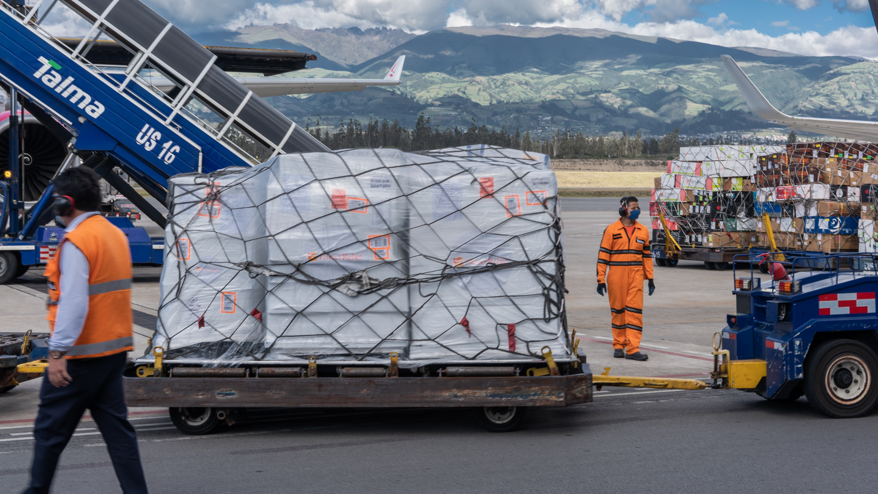 Health equipment donations from Direct Relief arriving to Ecuador on June 4, 2020 to mitigate the impact of Covid-19 emergency in the country. (Isadora Romero for Direct Relief)