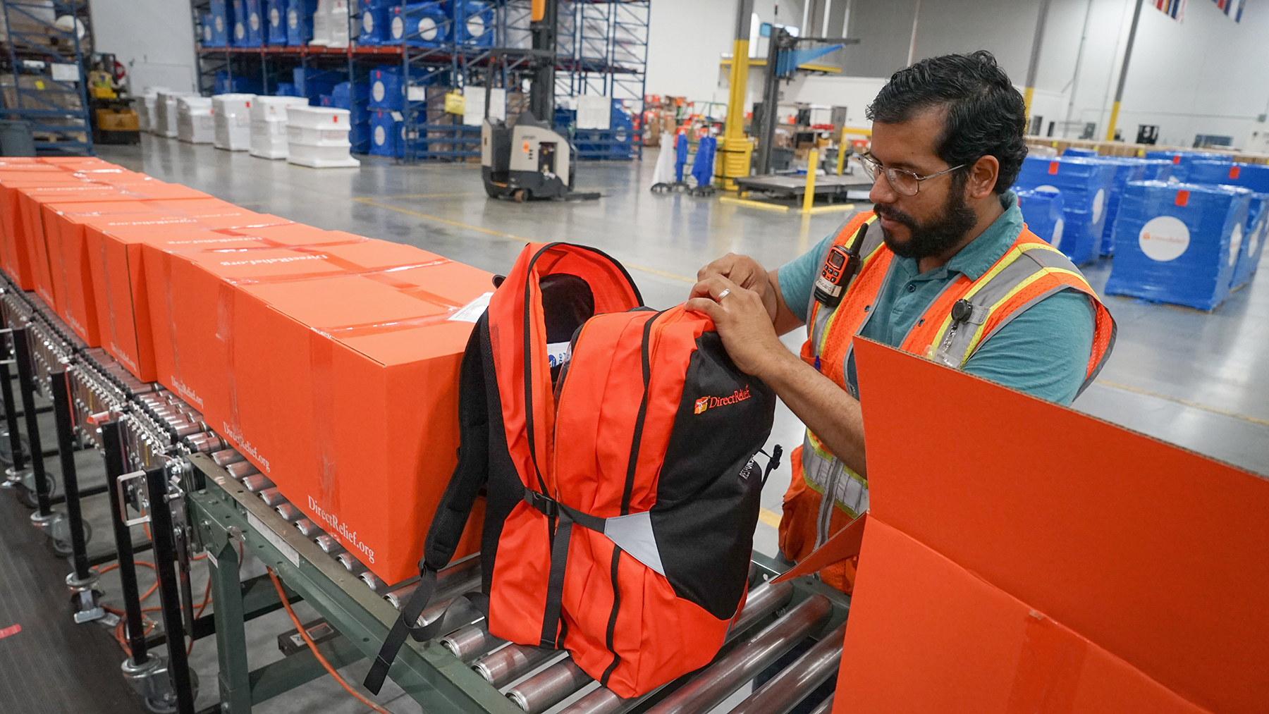 Shipments of medical aid, including Emergency Medical Backpacks, are packed at Direct Relief's warehouse on June 11, 2020. These backpacks, and other requested medical aid, including protective gear, make up 45 shipments departing to health centers across the United States that have been impacted by recent protests. (Lara Cooper/Direct Relief)