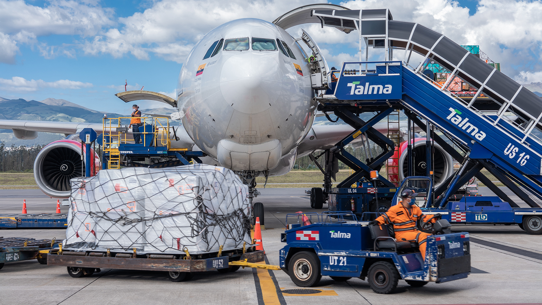 A 8.8-ton Direct Relief shipment arrives in Quito, Ecuador, on June 4, 2020. The shipment contained ICU kits, filled with essential medicines to treat Covid-19 complications, as well as oxygen concentrators, protective gear and other requested medical items for health facilities in the country. (Photo by Isadora Romero for Direct Relief)