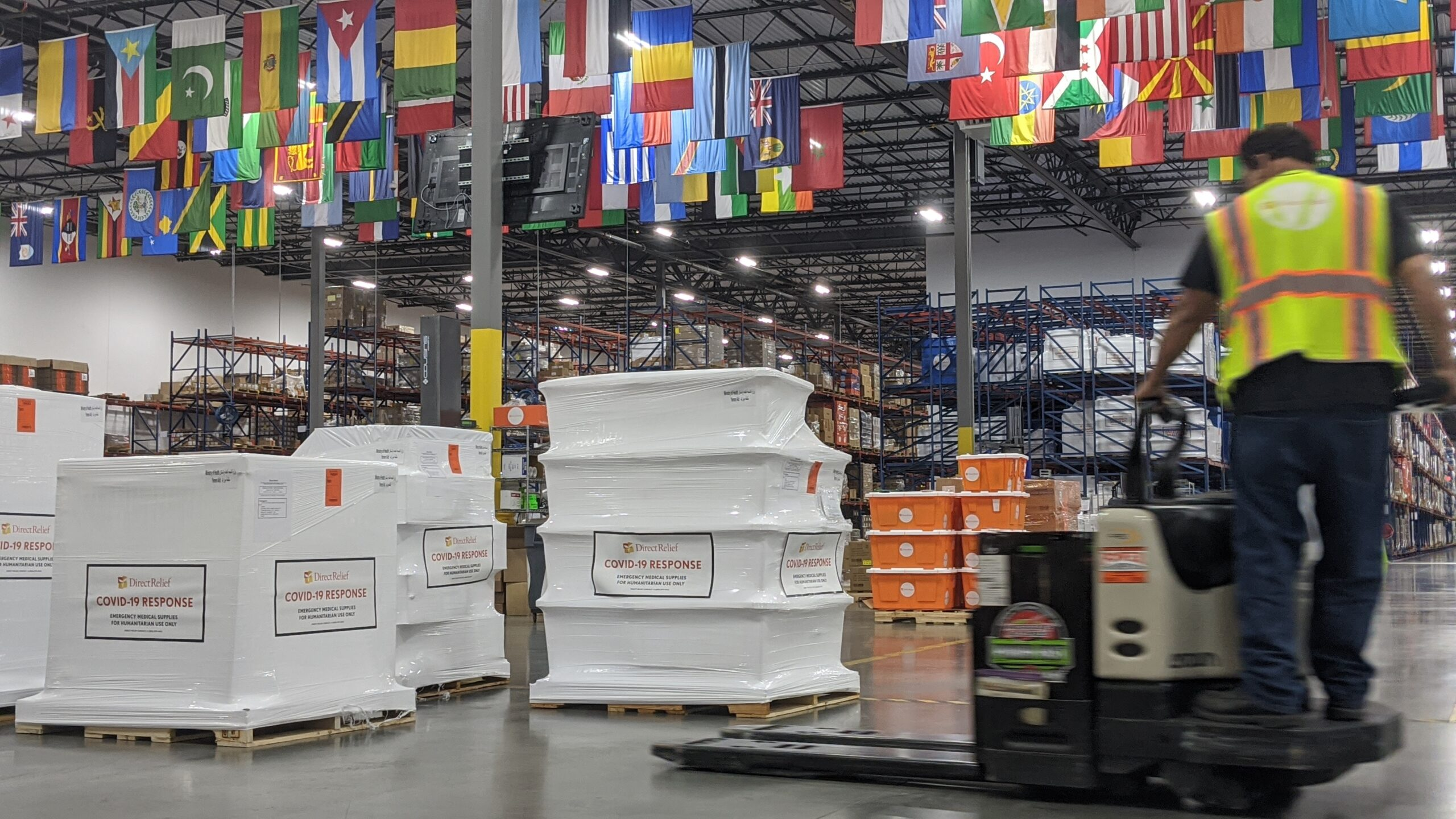 A shipment containing 150 oxygen concentrators and enough ICU medication for  10,000 Covid-19 patients is staged at Direct Relief's warehouse for delivery to Yemen. (Photo: Tony Morain/Direct Relief)