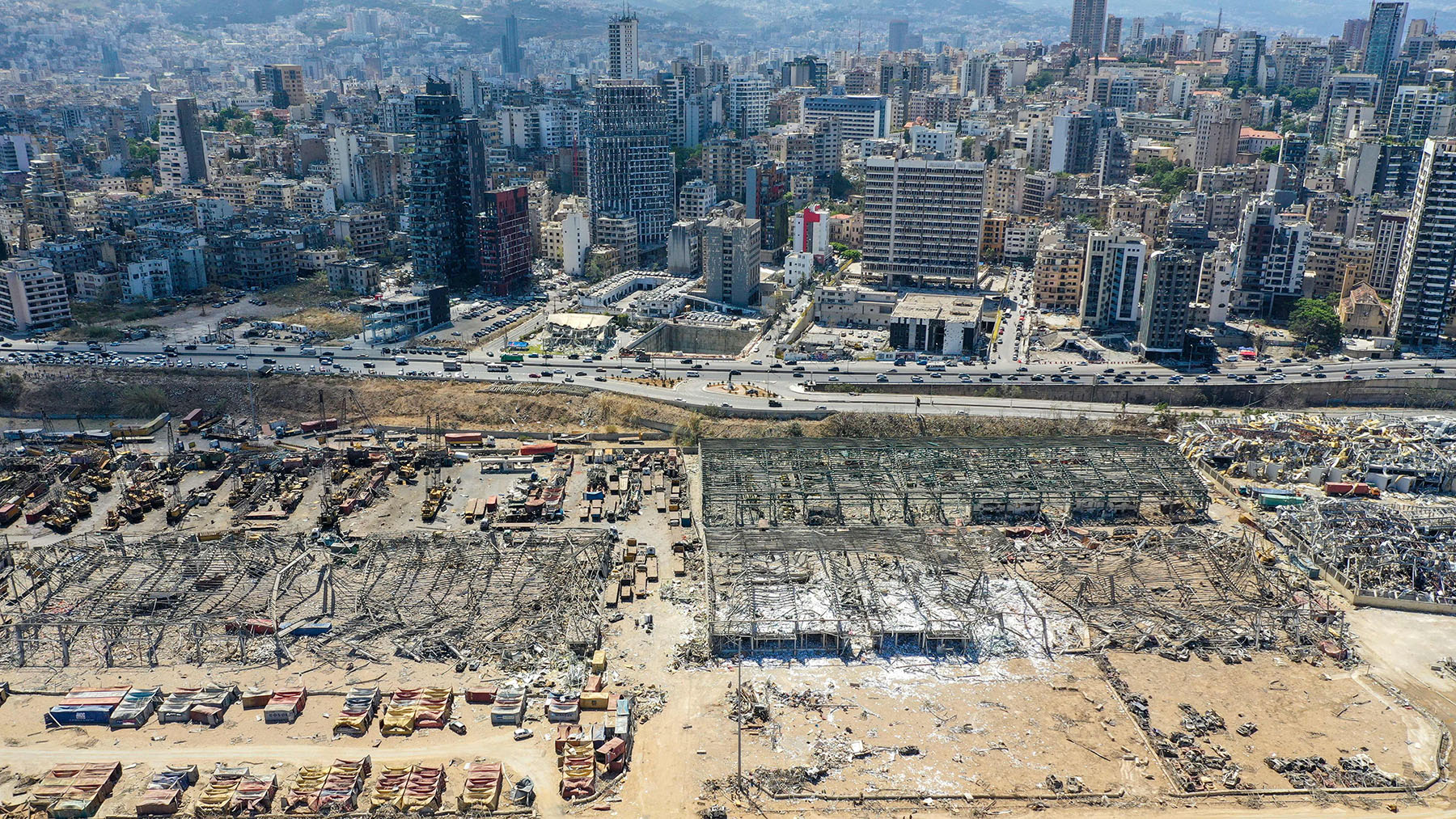 An aerial view taken on August 9, 2020, shows a partial view of the Port of Beirut, damaged as a result of last week's explosion. (Photo by AFP via Getty Images)