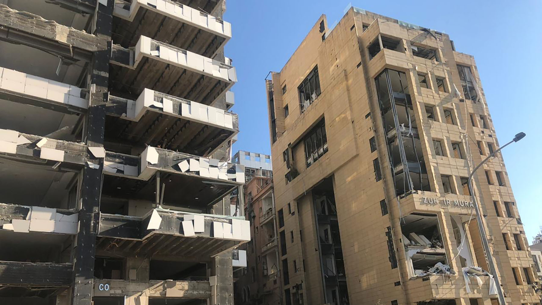 The aftermath of Tuesday's explosion as seen in downtown Beirut. (Photo by Serene Dardari/Anera)