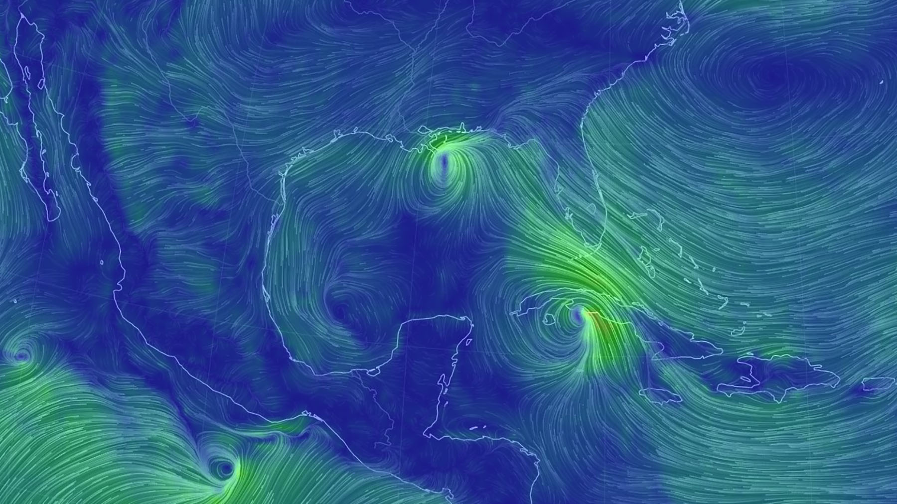 Tropical Storms Marco and Laura as seen via wind patterns forming over the ocean on Monday. (Earthnull Imagery)