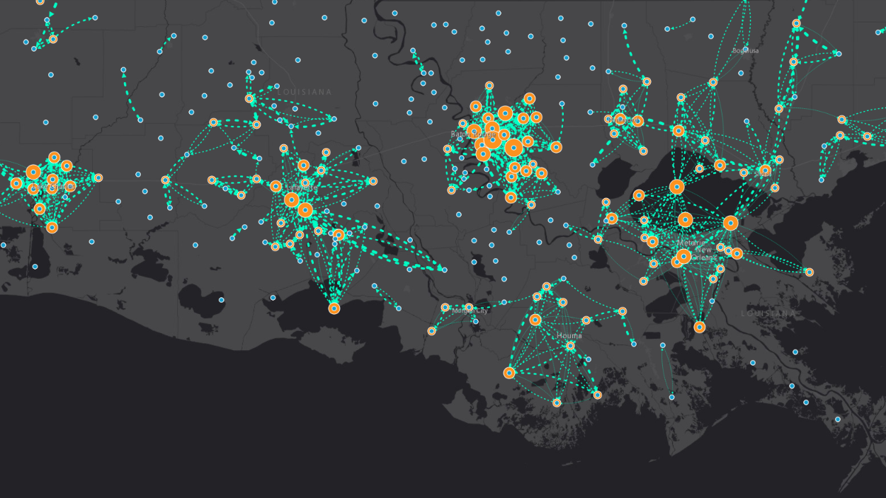 Movement between  areas on August 25, as seen from Facebook mobility data, shows how the cities actually cluster together. (Direct Relief)