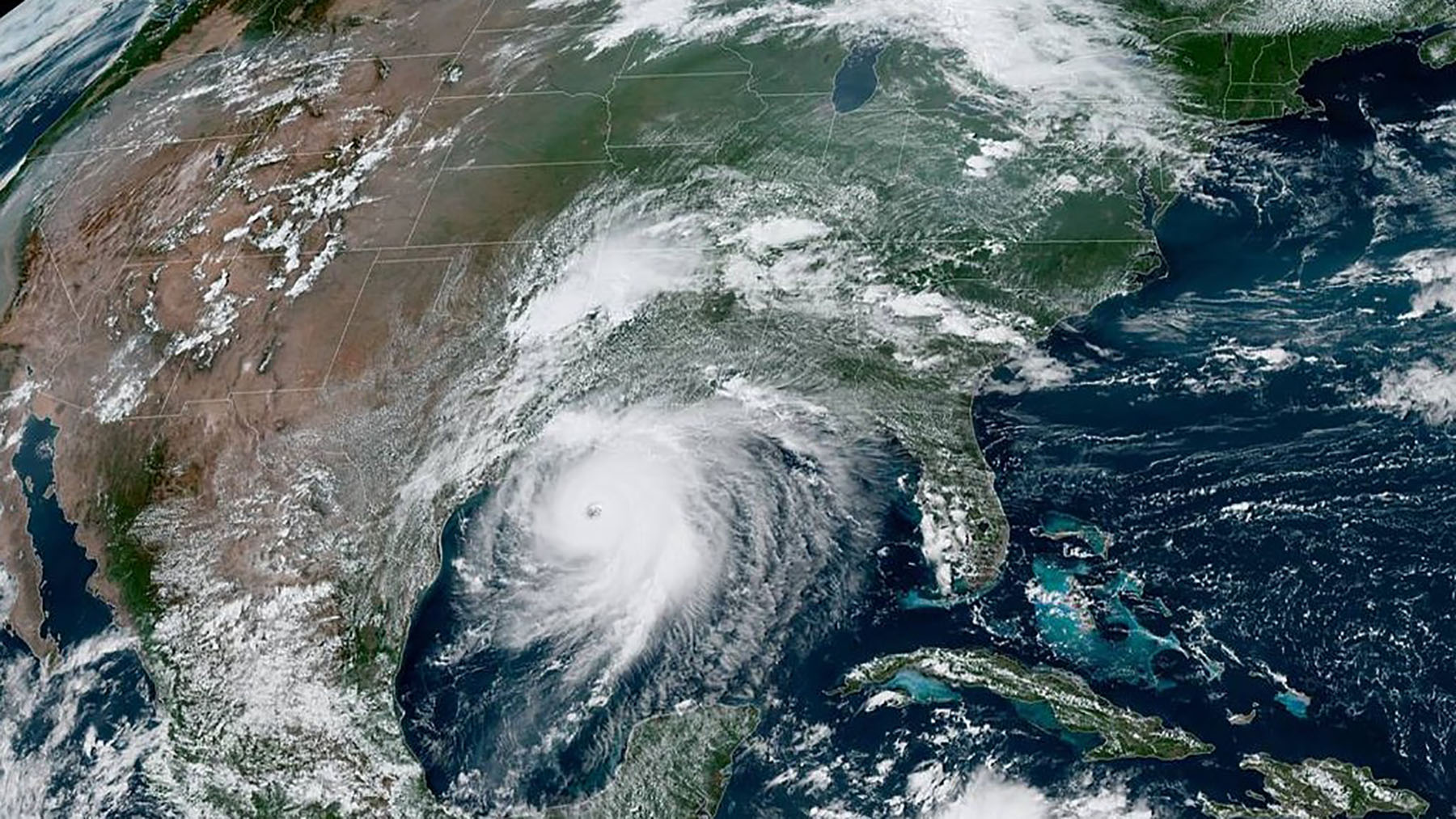 Satellite imagery shows Hurricane Laura churning towards the U.S. Gulf Coast on August 26, 2020. (NOAA)