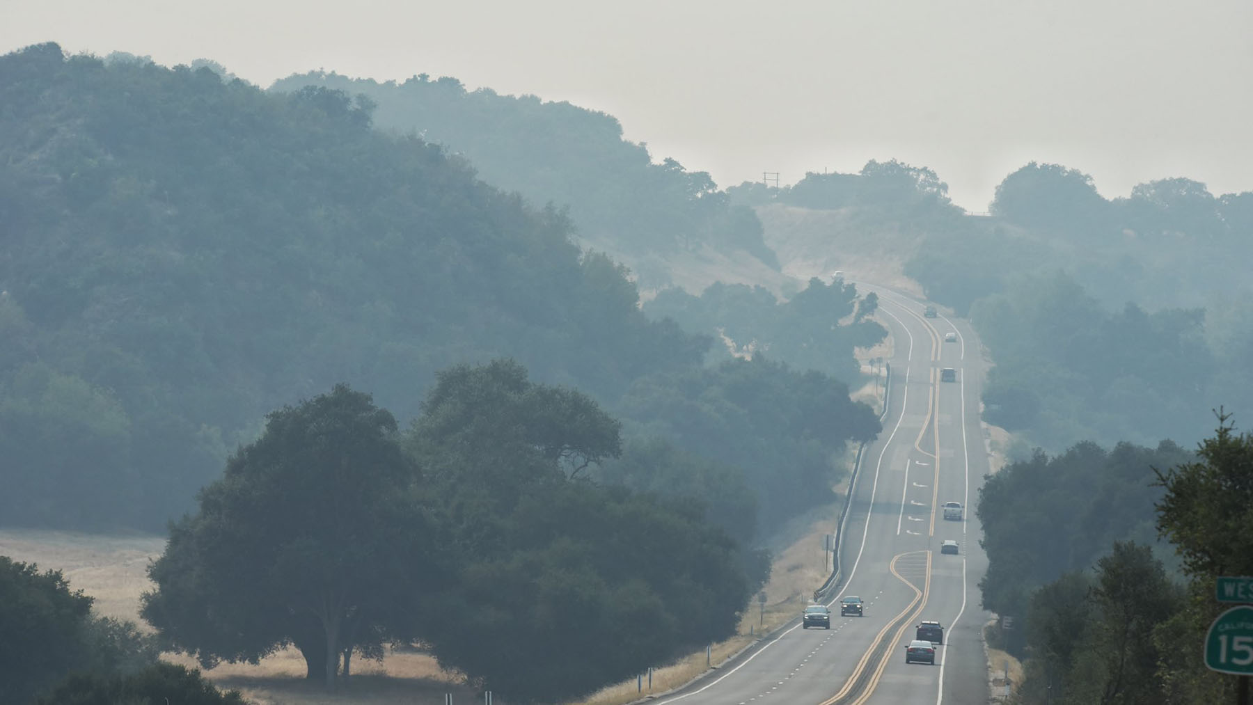 Smoky conditions are seen along Highway 154 in Santa Barbara County, California, miles from any active fires when this photo was taken on August 19, 2020. Large fires burning in California have resulted in poor air quality in many places across the state, and the particulates from smoke can exacerbate respiratory health conditions. (Photo by Mike Eliason/Santa Barbara County Fire Department)