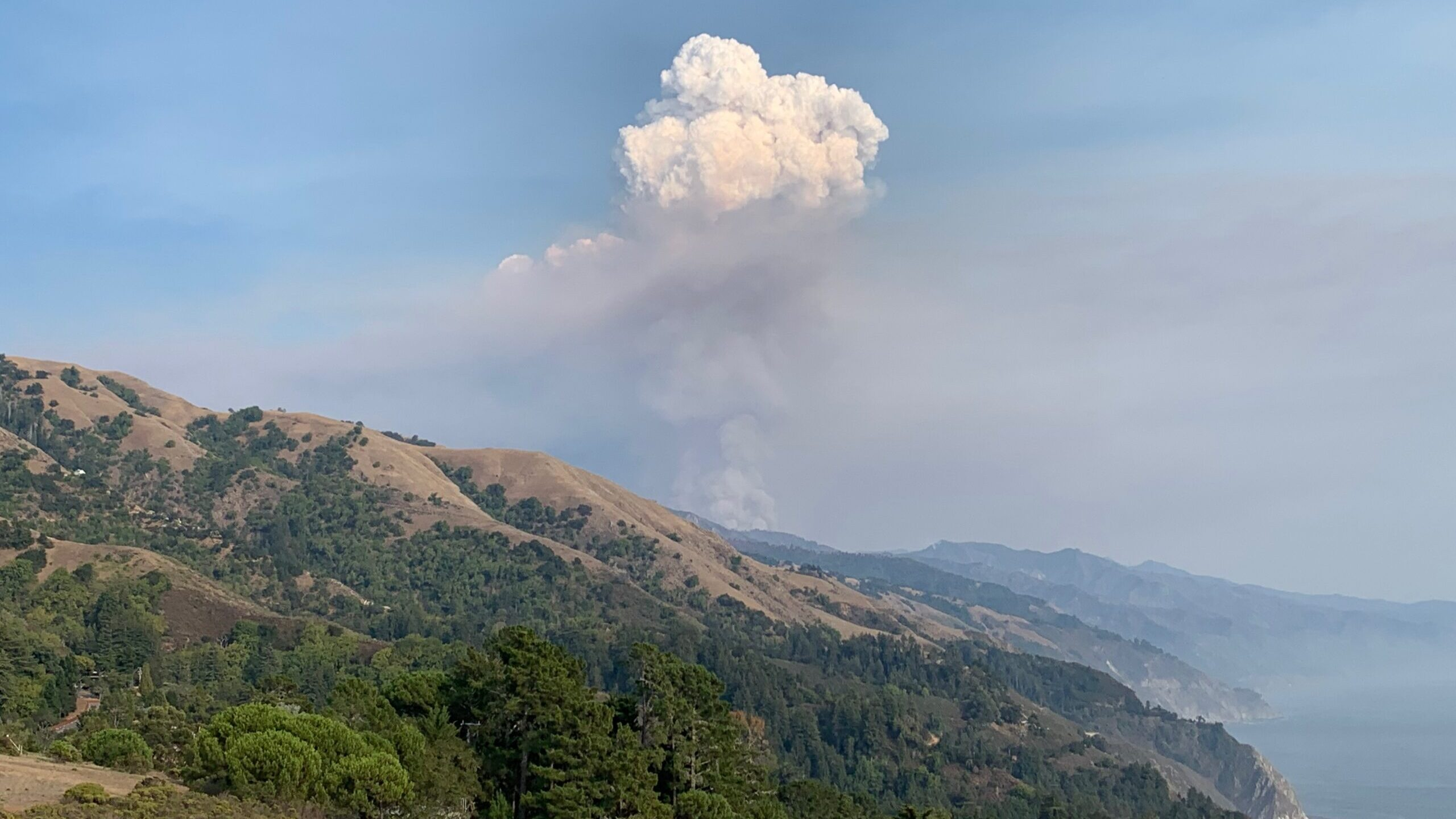 Smoke billows from the Dolan Fire near Big Sur. Photo courtesy of Big Sur Health Center)