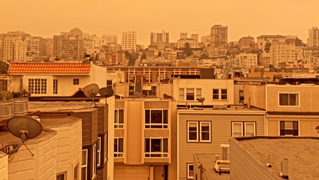 A bevy of record-setting wildfires have filled western U.S. cities, including San Francisco, with smoke and ash. More than 2.2 million acres have burned in California this year, a record. (Photo courtesy of Josh Kirkland)