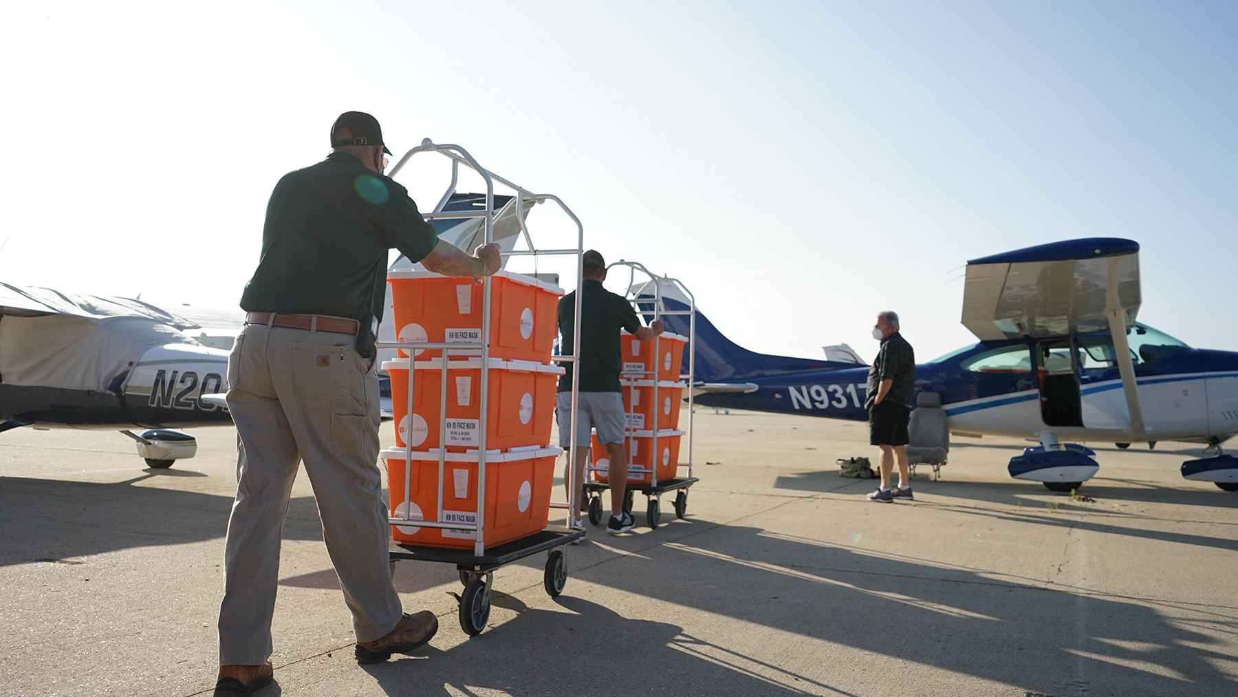 Direct Relief supplies are loaded onto a plane for transport to Oregon on September 19, 2020. (Lara Cooper/Direct Relief)