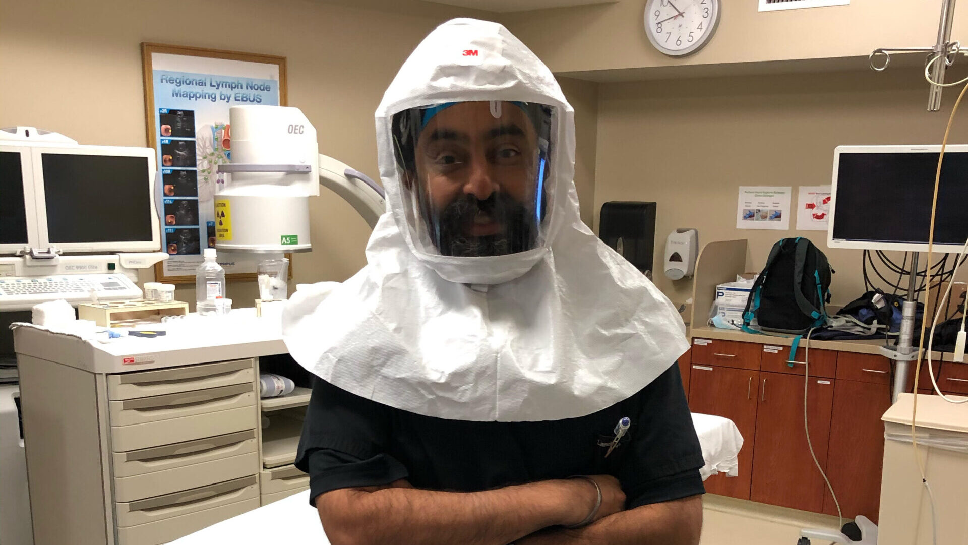 Dr. Jaspal Singh, wearing a PAPR. Note: Dr. Singh is not the Mr. Singh referenced in this article. (Photo credit: North American Sikh Medical and Dental Association)