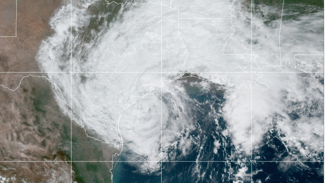 Tropical Storm Beta churns off the Gulf Coast as it steadily approaches the central Texas coast. The storm is predicted to make landfall Monday night bringing up to 15 inches of rain in some places. (Photo courtesy of NOAA)
