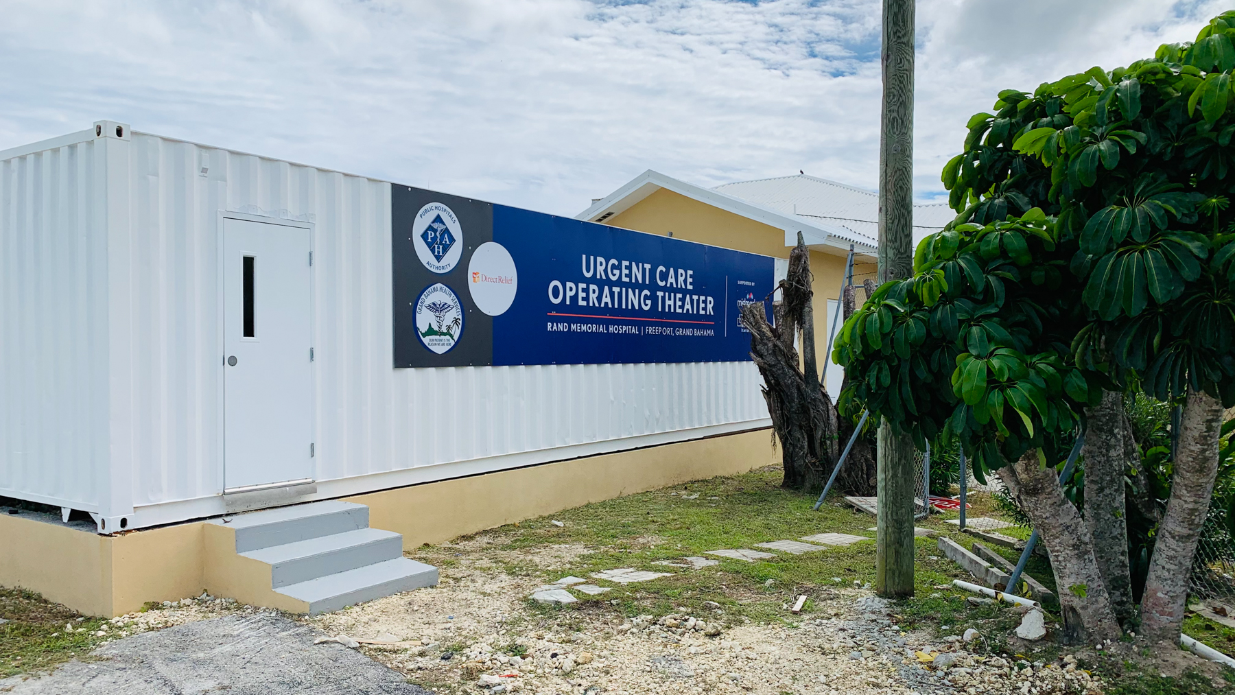 A modular operating room attached to Rand Hospital in Grand Bahama. The hospital's OR remains closed following Hurricane Dorian. (Robert Sweeting/ Direct Relief)