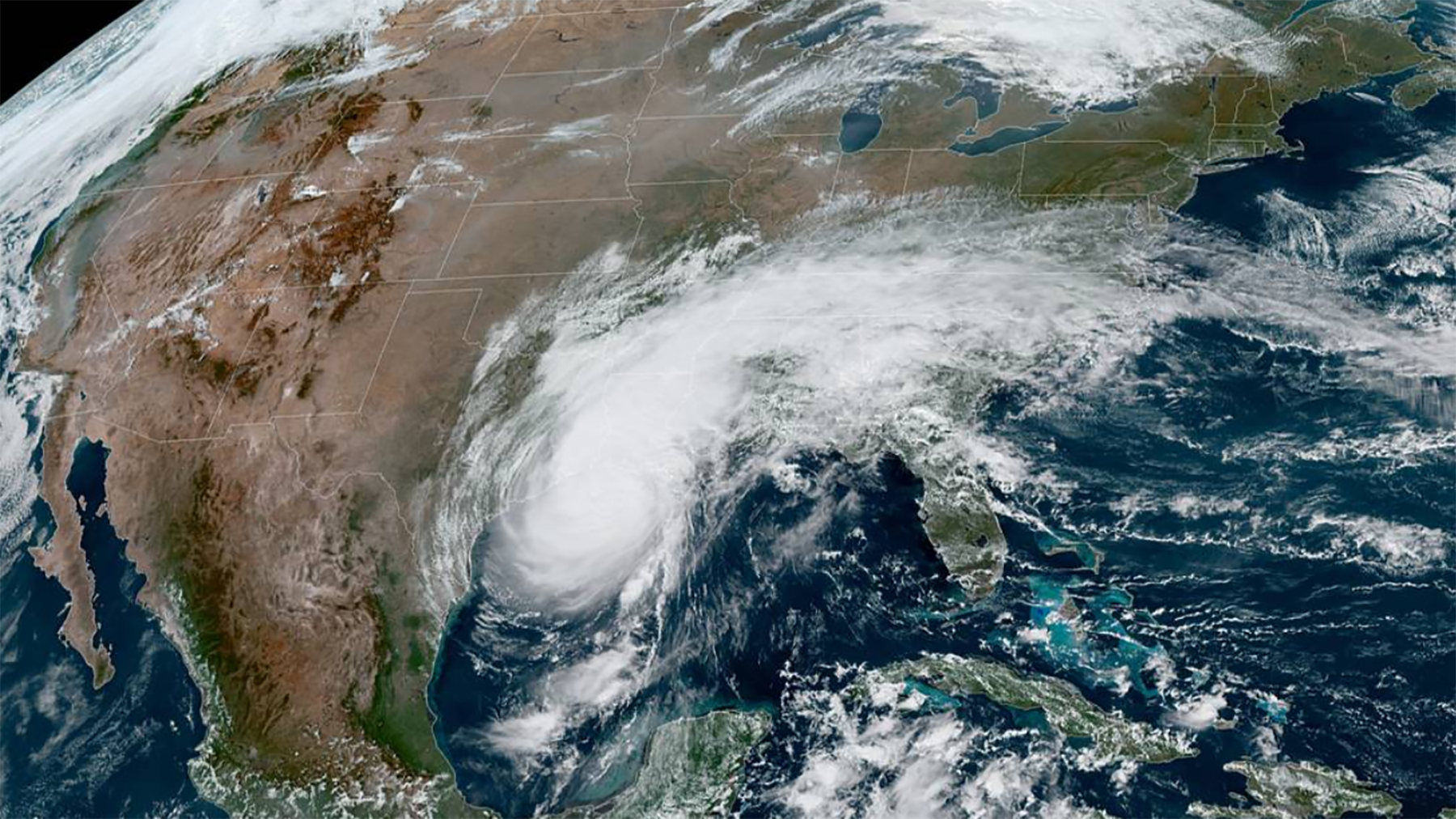Hurricane Delta swirls over the Gulf of Mexico Friday, Oct. 9, 2020. The region has been struck by multiple storms this year. (NOAA Satellite Image)