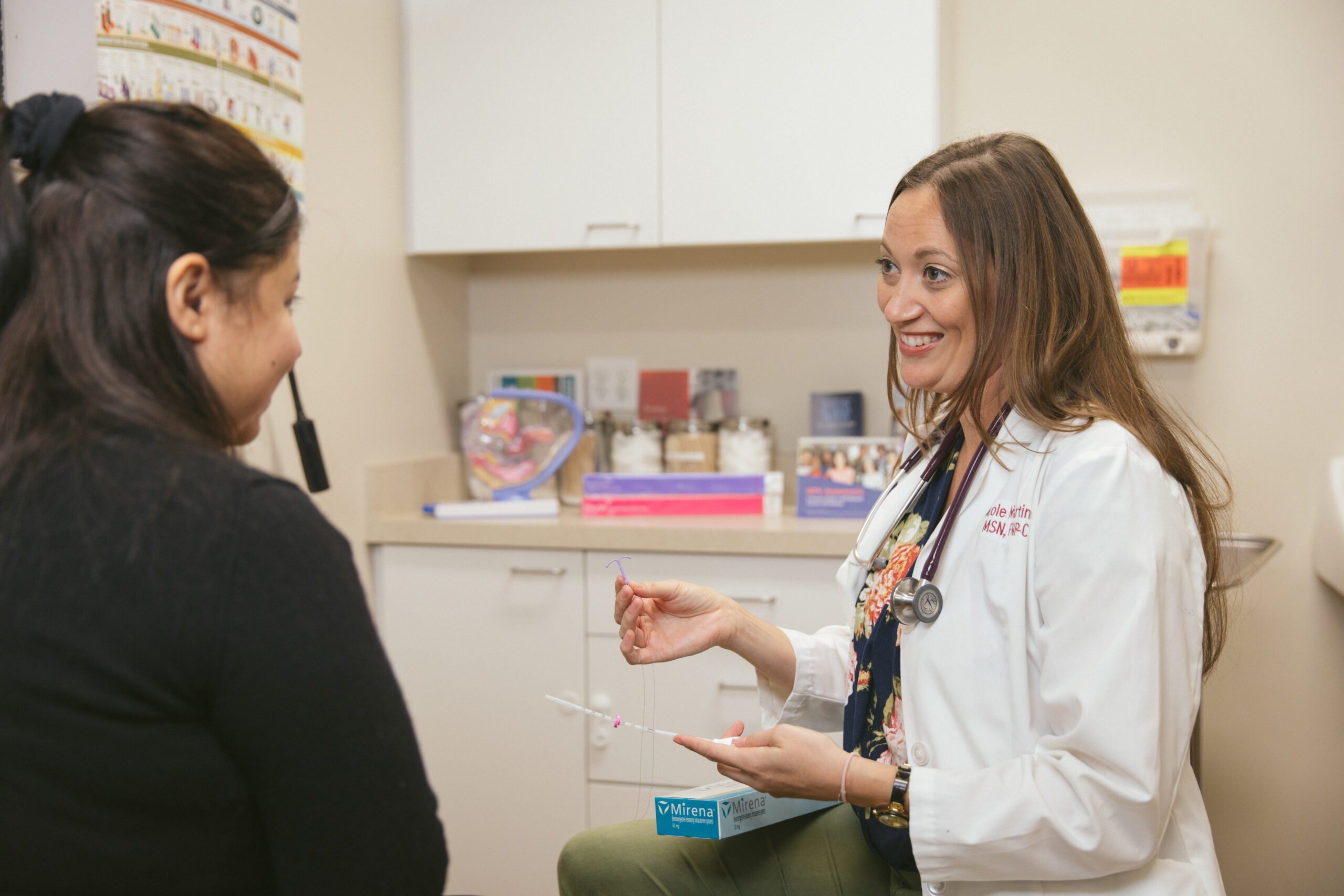 Nurse Practitioner Nicole Martinez, of the Santa Barbara Neighborhood Clinics, speaks with a patient in Goleta, California, on Friday, October 23, 2020. The Santa Barbara Neighborhood Clinics are among the hundreds of community health centers across the U.S. that received Bayer-donated IUDs to bolster reproductive health services for uninsured women. (Photo by Erin Feinblatt for Direct Relief)