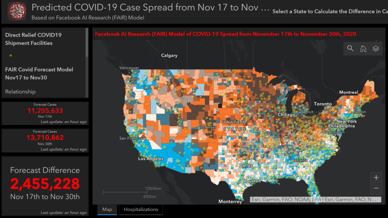 AI-predicted spread of Covid-19 from November 17 to November 30, based on Facebook-provided data. (Direct Relief)