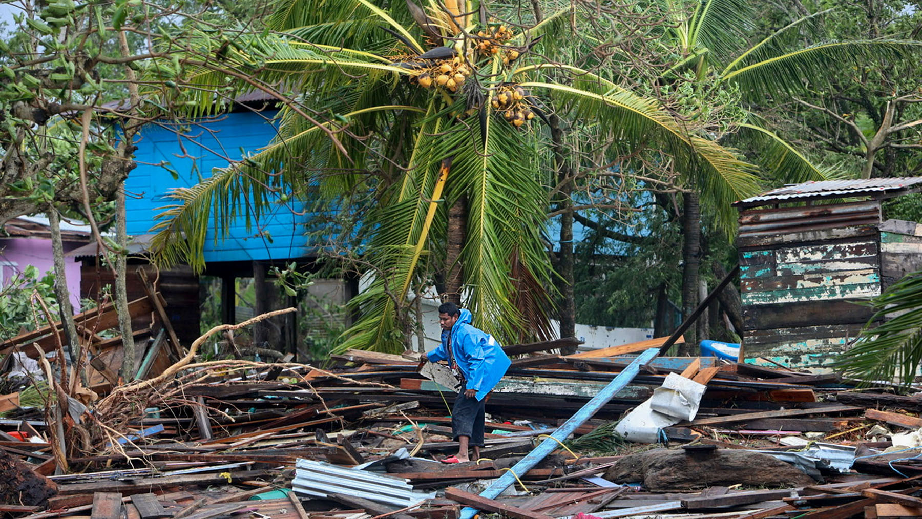 Damage from Hurricane Eta in Puerto Cabezas, Nicaragua, as seen on November 4, 2020. Health providers in the country, and in neighboring Honduras, have requested medical aid. (Photo by Inti OCON / AFP)