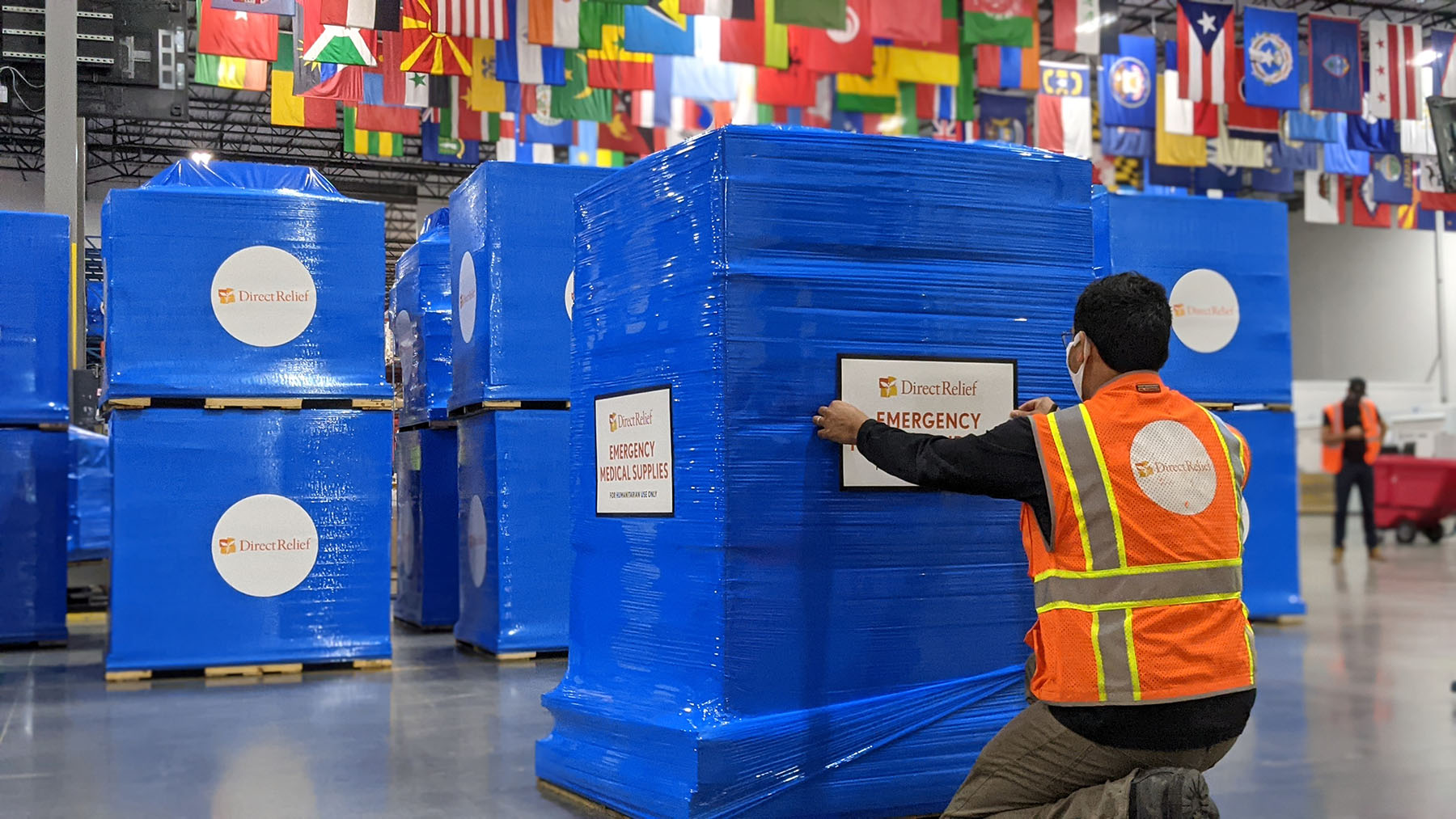 Emergency medical supplies, including 200 oxygen concentrators, are prepped for shipment on Jan. 12, 2021, at Direct Relief's warehouse. The shipment was delivered to Lancaster, California, where health facilities are working to care for an influx of Covid-19 patients. (Tony Morain/Direct Relief)