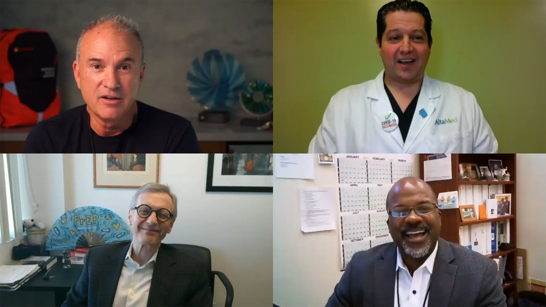 (clockwise) Direct Relief's Thomas Tighe,  AltaMed's Dr. Ilan Shapiro Strygler, L.A. L.G.B.T Center's Dr. Robert Bolan, and T.H.E. Health's Dr. Derrick Butler (Direct Relief)