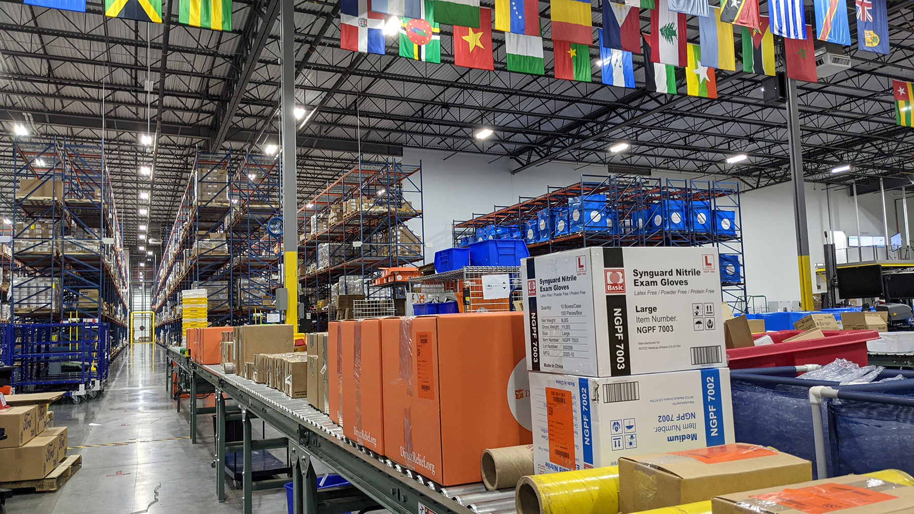 Shipments of medical aid for Texas communities are prepped for departure at Direct Relief's warehouse on Friday, Feb. 19, 2021. (Tony Morain/Direct Relief)