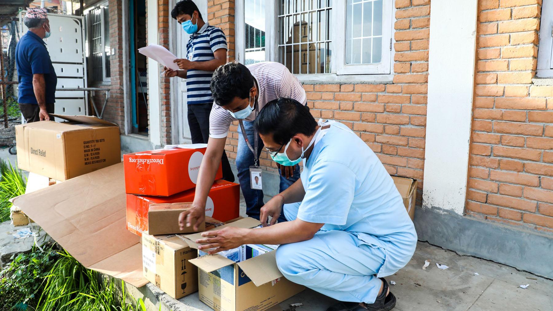 ICU Kits ariving at Dhulikhel Hospital in Nepal during the Covid-19 pandemic. (Photo Courtesy of Pramesh Koju/ Dhulikhel Hospital)