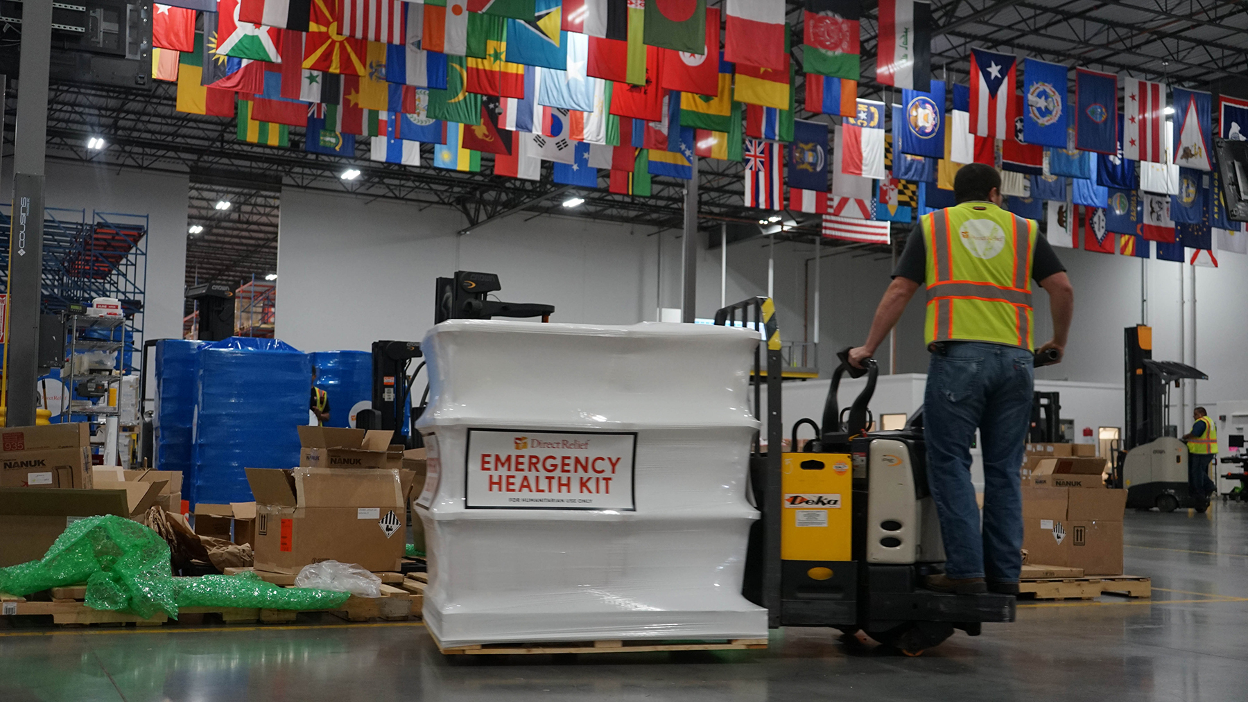Emergency medical supplies leave Direct Relief's warehouse bound for Syria. (Direct Relief photo)