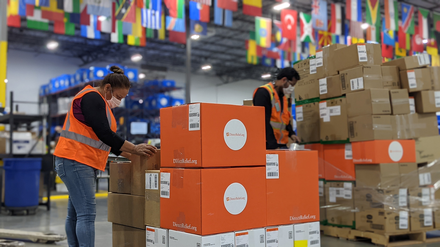 Medical aid is staged for shipment at Direct Relief headquarters on March 30, 2021. Included in the day's shipments were several in response to storms across multiple states over the weekend. (Tony Morain/Direct Relief)