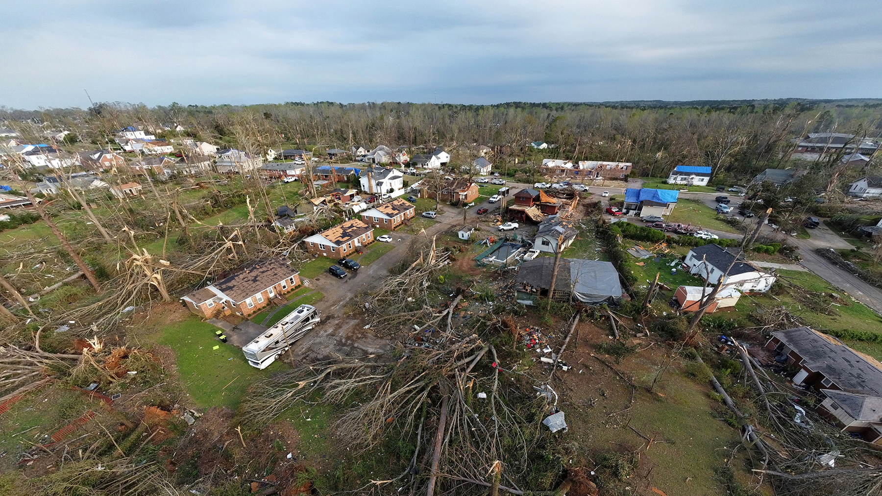 Tornado damage to homes on March 26, 2021 in Newnan, Georgia. An EF-4 rating tornado passed through Newnan and parts of nearby Coweta and Heard counties late Thursday night into Friday.  Dozens of storms were reported across the U.S. after a devastating weather system swept through. (Photo by Scott Cunningham/Getty Images)