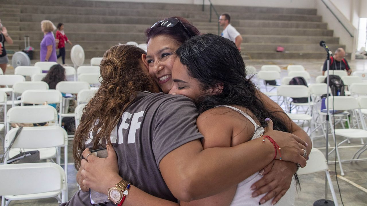 Participants embrace after a group session at Puerto Rico's Center for Mind-Body Medicine. The Center said people close, lasting bonds from sharing their personal stories and experiences. (Courtesy photo)