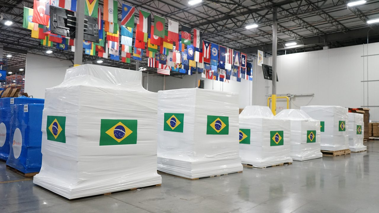 200 oxygen concentrators are staged for shipment on April 22, 2021, bound for health providers caring for Covid-19 patients in Brazil. (Lara Cooper/Direct Relief)