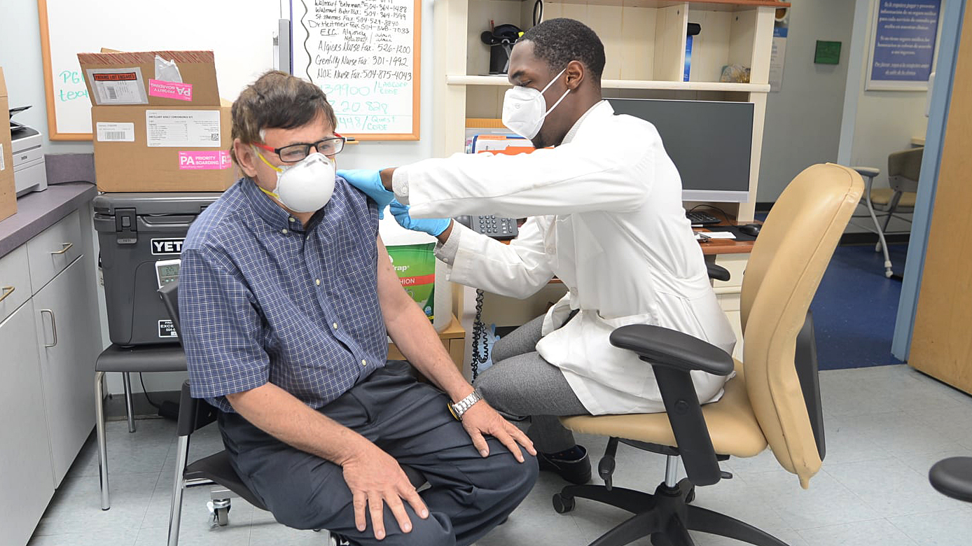 A Covid-19 vaccination takes place at EXCELth, a health center in New Orleans, Louisiana. The health center received $188,000 worth of medical aid support from Direct Relief over the past week. (Courtesy photo)