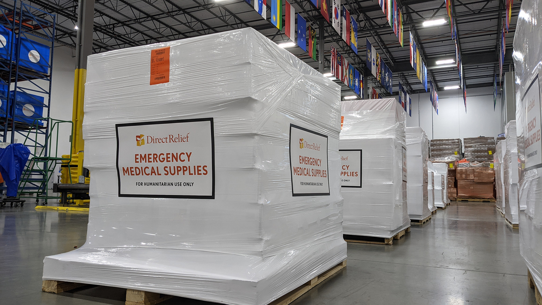 Emergency shipments of medical aid are staged for departure on April 12, 2021, at Direct Relief headquarters for those impacted by the volcanic eruption in St. Vincent in the Caribbean. (Tony Morain/Direct Relief)