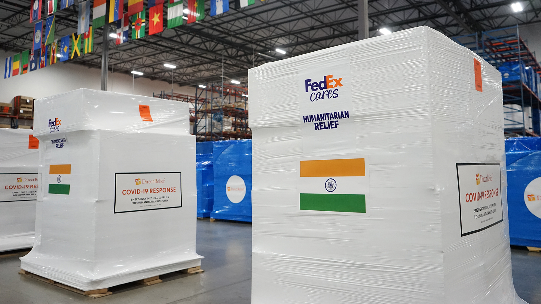 Medical aid is staged for departure to India in response to the country's Covid-19 surge. The shipment is being transported, free of charge, by FedEx. (Lara Cooper/Direct Relief)