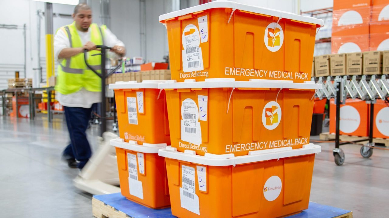 Emergency medical modules staged in Direct Relief's warehouse (Lara Cooper/Direct Relief).