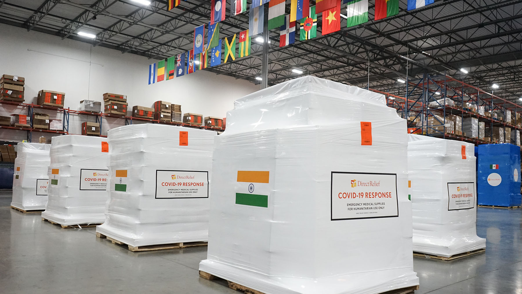 Medical aid is staged on April 30, 2021, for departure to India, where Covid-19 cases have spiked during recent weeks. Direct Relief is supporting hospitals in the country with requested aid. (Lara Cooper/Direct Relief)