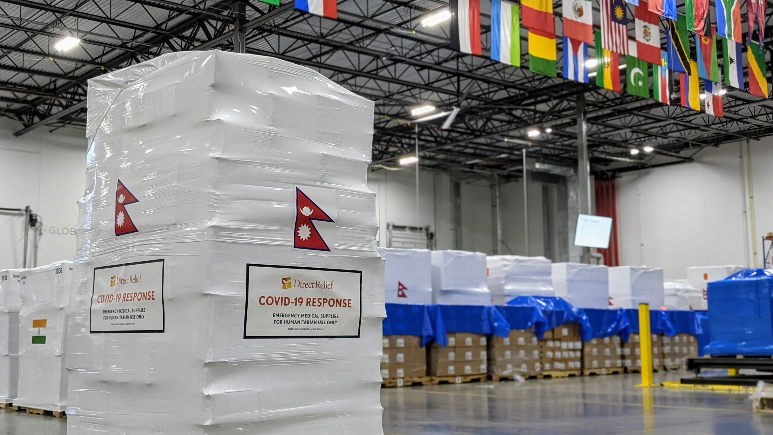 Shipments of oxygen concentrators and PPE are staged in the Direct Relief warehouse for delivery to health facilities in Nepal.  (Maeve O'Connor/Direct Relief)