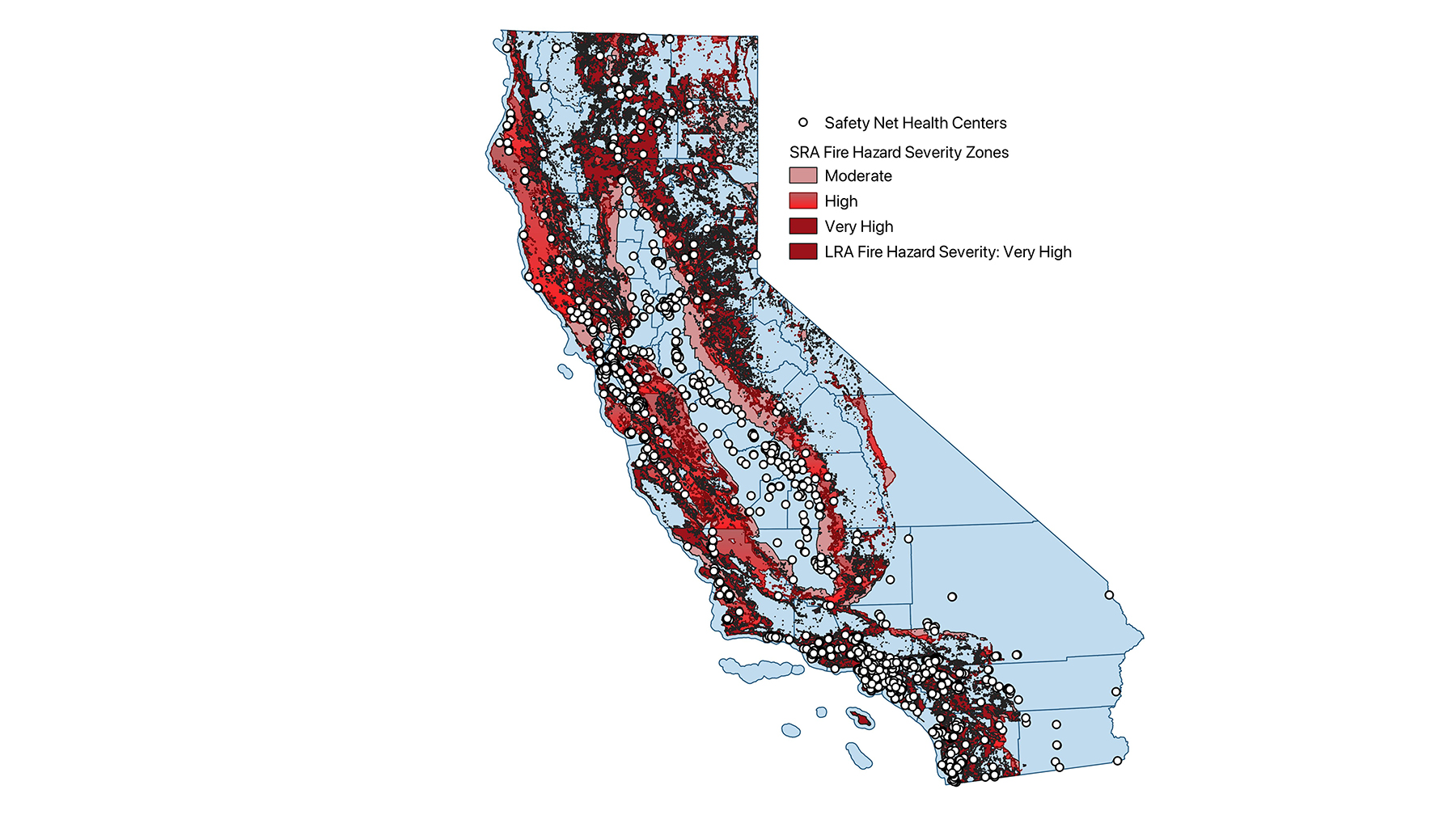 Location of safety net health centers as identified relative to CalFire hazard zones. (Crisis Ready)