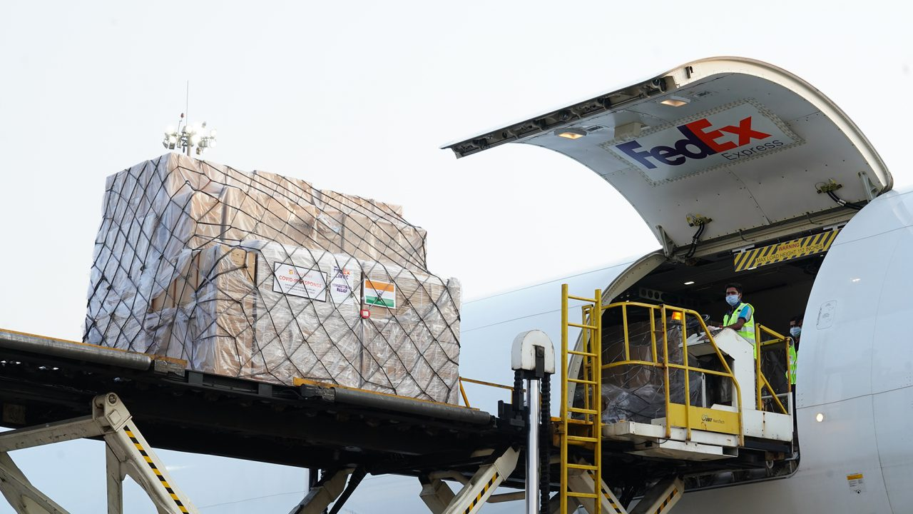 Medical aid arrives in Mumbai on May 9, 2021, via donated charter from FedEx. Direct Relief is sending a second charter, also courtesy of FedEx, bound for Delhi and containing 1.8 million masks, oxygen concentrators, medicines, and other medical aid requested by local health providers. (FedEx photo)