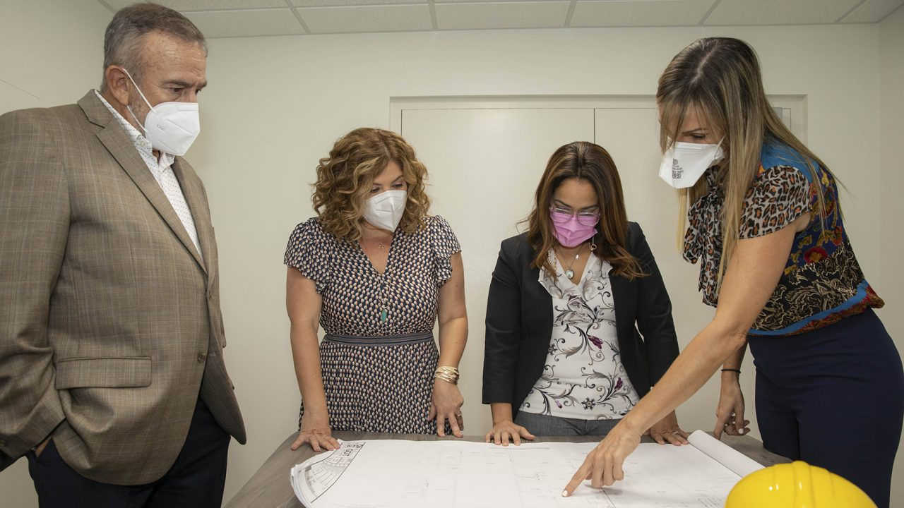 Direct Relief Puerto Rico Advisor Ivonne Rodriguez-Wiewall, right, reviews plans for a new pediatric Interventional Radiology Unit with members of the Pediatric Hospital Foundation. (Photo courtesy of the Pediatric Hospital Foundation)