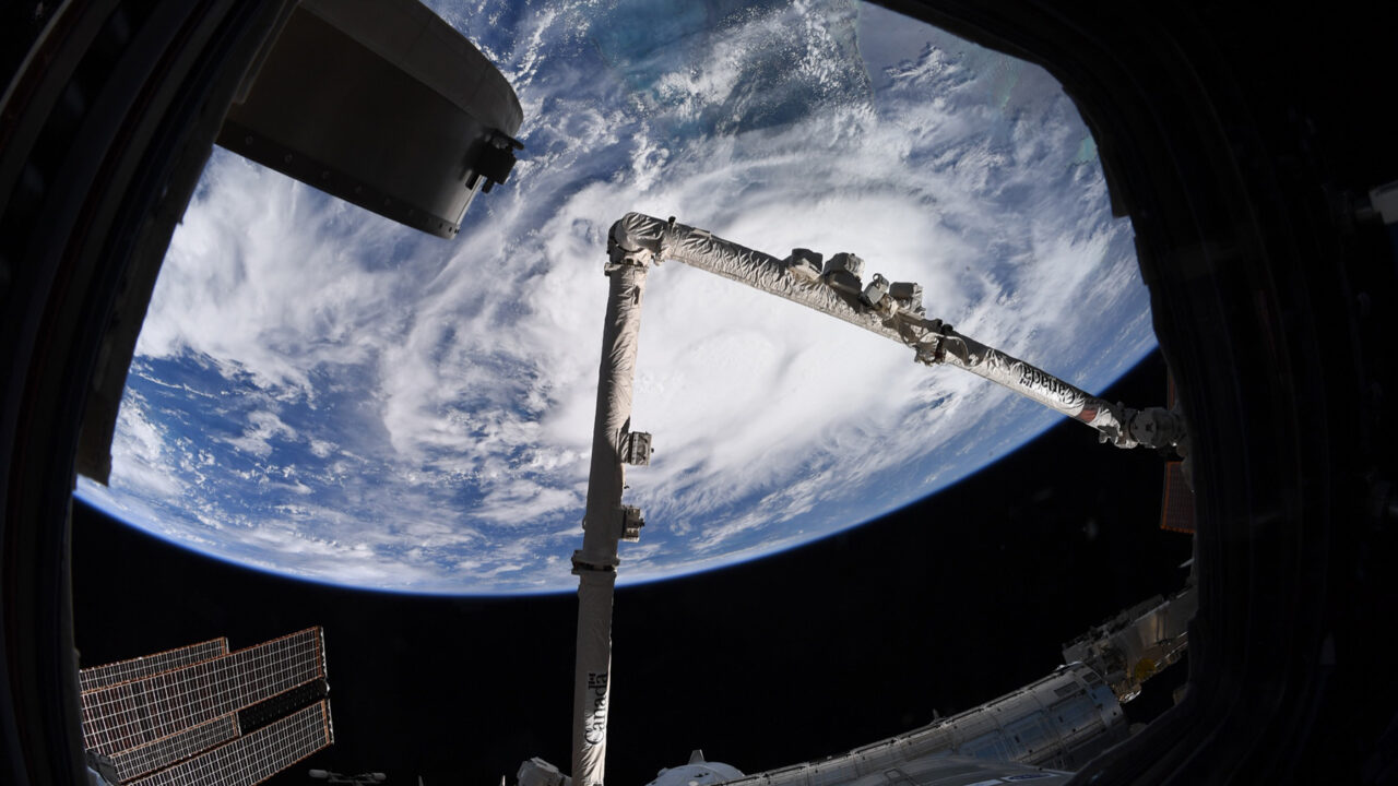 Tropical Storm Elsa, as seen from the International Space Station on July 4, 2021. Florida and other states in the Southeastern United States are bracing for the storm's impacts. (Photo courtesy of Megan McArthur/NASA)