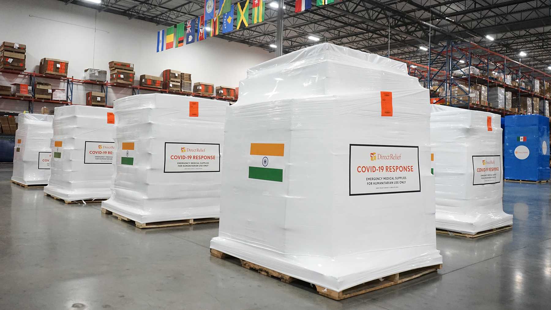 Medical aid is staged on April 30, 2021, for departure to India. (Lara Cooper/Direct Relief)