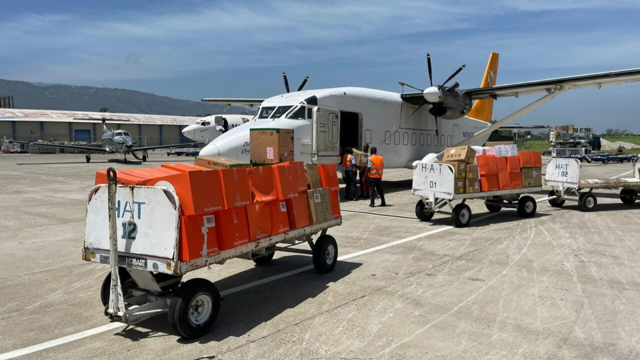 Medical aid, including PPE and Emergency Medical Backpacks for triage care, arrives in Port-au-Prince on August 18, 2021, for distribution to St. Boniface Hospital. (Direct Relief photo)